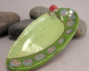 Happy Thoughts...Tiny Trinket Dish in Stoneware from elukka