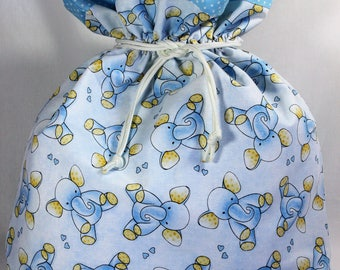 Drawstring Gift Bag, Baby Blue Elephants lined in blue with mini white polka dots and a white paracord drawstring. Jumbo Size: 16 X 16