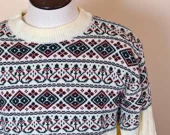 Mens Vintage Ski Sweater Crew Neck