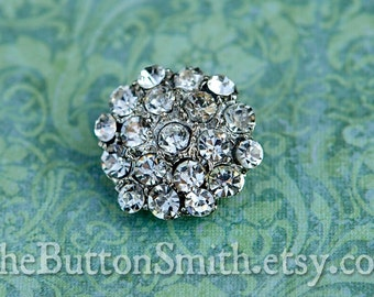 5 to 20 Pieces of Crystal Rhinestone Buttons -Helena- (21mm) RS-009 in silver finish- Perfect for Wedding invitations hair clips crafts