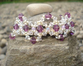 Amethyst and clear Crystal beads bracelet