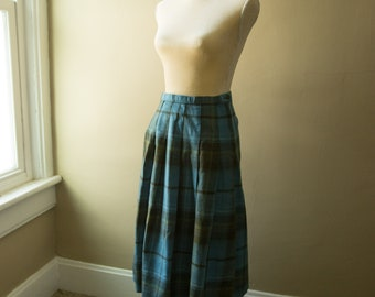 Vintage Blue and Gray Plaid Skirt