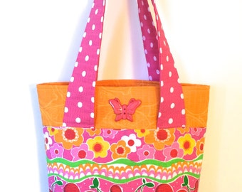 Little Girl Tote or Purse - Butterflies and cherries with pink and orange