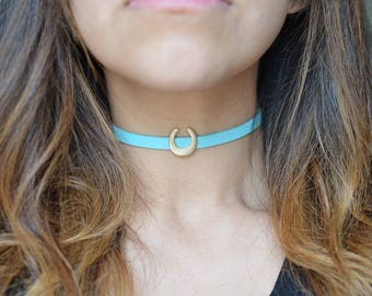Suede Turquoise Moon Choker