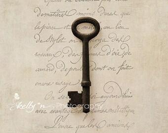 Key Photography- Skeleton Key Photo, French Script and Key Print, Romantic Still Life Photo, Tan Brown Grey, Antique Key Print, Key Print