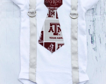 SALE Texas A&M Boy Tie Suspenders, Aggie Maroon Tie, Silver Suspenders, Boy Cake Smash Outfit, Boy Photography Prop, 1st Birthday College