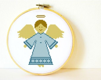 Counted Cross stitch Pattern PDF. Instant download. Angel. Includes easy beginner instructions.