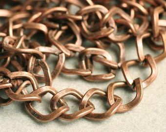 Antique copper large diamond curb chain 8x7mm, 5 ft (item ID YWAC1.2BSFD)
