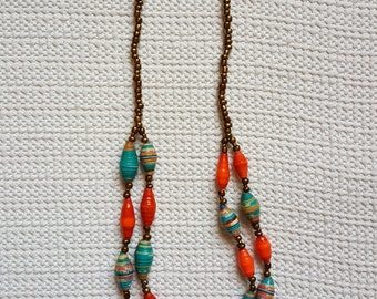 Double Strand Necklace in Clementine and Teal