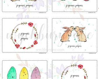 Printable French Easter Card / Cartes de Pâques Imprimables / Cartes Pâques / Carte Lapin / Classroom Easter Cards / For Teachers / For Kids
