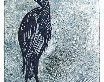 Ancient Heron - Monoprint + Linocut - Hand Pulled Fine Art, Limited Edition, Printmaking Original