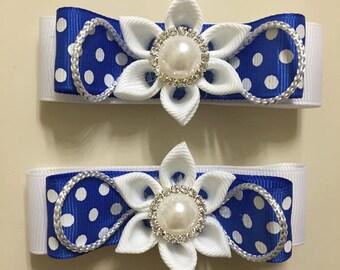 Blue and White Hear clips- Handmade
