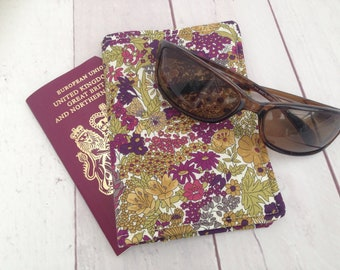 Liberty of London fabric passport cover; fabric passport cover; passport cover with pocket, liberty fabric, poppies, british flowers.