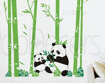 "Pandas love Bamboo (79"" tall ) -  Children Baby Kid Boy Girl Playroom"