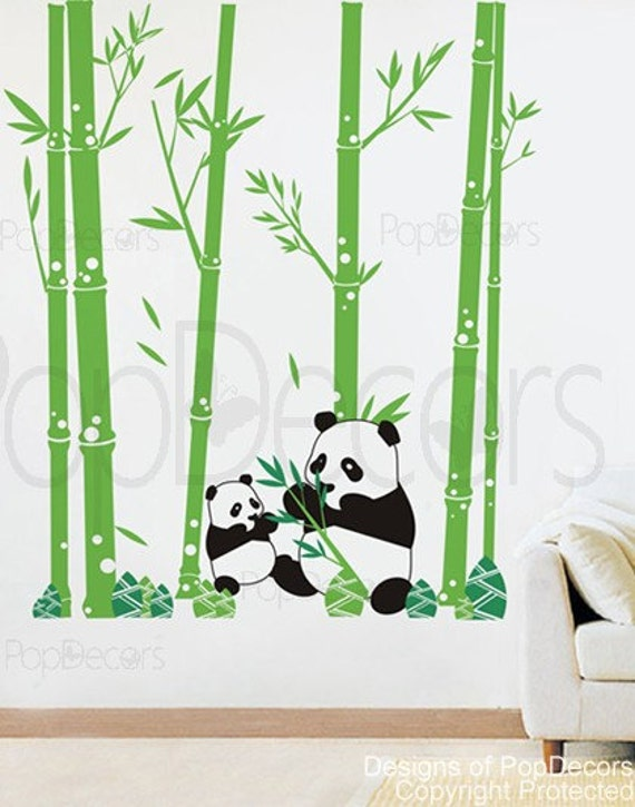 Panda Wall Decal Bamboo Trees Decal Baby Wall Decors Nursery