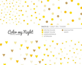 80% OFF SALE Digital Paper Yellow 'Pack02' Gold Glitter & Yellow Confetti Backgrounds for Scrapbooking, Invitations, Crafts...