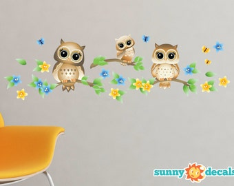 Owls On A Branch Fabric Wall Decals, Set of 3 Owls With Branches, Butterflies and Flowers - 4 Color Options - Non-Toxic, Repositionable