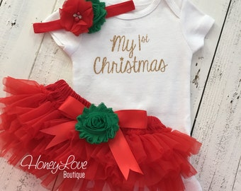 1st Christmas Set GOLD or SILVER glitter bodysuit, red green flower headband bow, tutu skirt bloomers infant baby girl First Santa Outfit