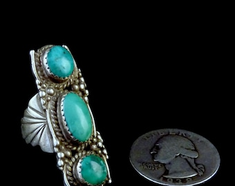 Size 7 Vintage Navajo Sterling Silver Ring w Fabulous Fox Mine Turquoise! Glorious Knuckle-to-Knuckle Ring W Amazing Silversmithing Details!
