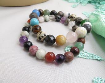 2 pce multi gems stretch bracelet glass crystals