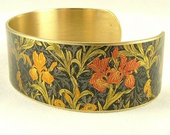 Flower Cuff Bracelet - Flower Jewellery - Iris William Morris - Boho Jewelry - Rustic - Flowers - Textile - Gifts For Women