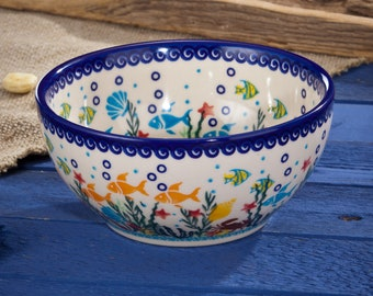 Beachy Polish Pottery Bowl | Coral Reef Motif | Handmade In Poland