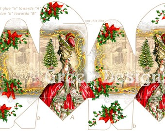 Marie Antoinette Versaille Christmas Holiday Holly Tree Gift Pillow Printable Box Template Digital Download