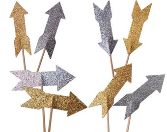 12 Glitter Gold Arrow Cupcake Toppers, Tribal Baby Shower, Bohemian Party Decorations, Glitter Silver - No1093