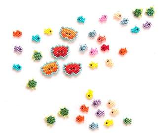 Orange Crab and Lavender Fish Bead Pattern, Brick Stitch Beading for Charms / Pendants, Miyuki Delica Bead Weaving