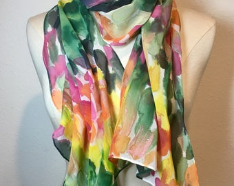 Abstract Flurry, Meadow green and sunrise colored hand painted silk georgette scarf.  Green, yellow, orange pink brush strokes oblong scarf
