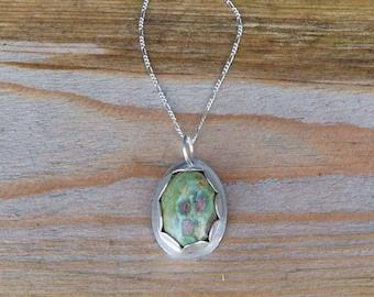 Silver and ruby zoisite pendant, silver pendant, silver ruby pendant, silver ruby necklace, zoisite necklace, boho pendant