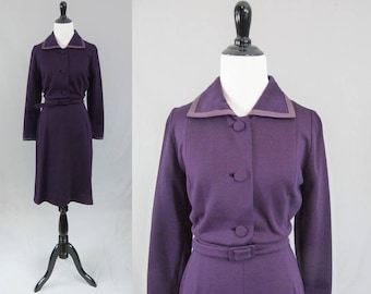 60s Purple Wool Dress - Leather Trim - Sophisticated Lady - An Alberto Import - As Is for Costume - Vintage 1960s - S M