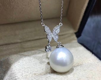 11-12mm Genuine Edison Pearl with Cubic Zirconia Butterfly & 925 Sterling Silver Chain Necklace, Single Drop Edison Pearl Wedding Necklace