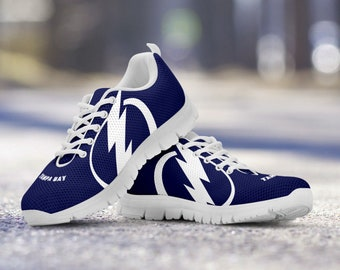 Tampa Bay Lightning Fan Unofficial Custom White Shoes/Sneakers/Trainers - Ladies, Mens + Kids Sizes, Lightning fan, collector, gift