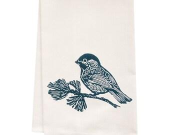 ORGANIC tea towel chickadee block print