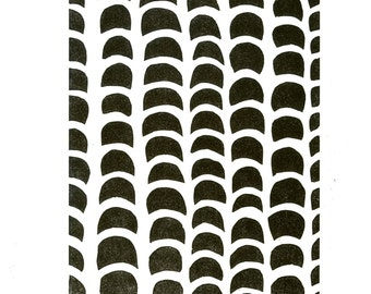 Black and White Abstract Pattern Linocut Print-Of Unpredictable Weather