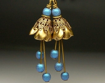 Bead Dangles - Vintage Style Antiqued Brass and Blue Flower Pair BL452
