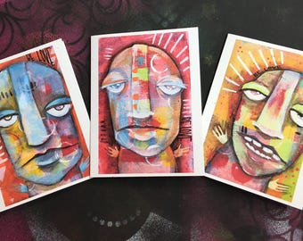 Colorful Blank Note Cards with Faces