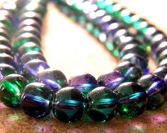 50 translucent glass 2 tones - green and blue - 8 mm beads - 2 PE236