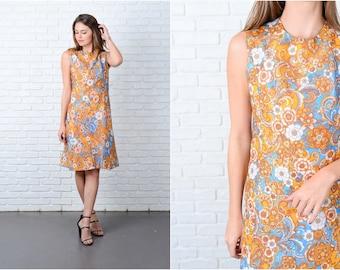 Vintage 60s Blue + Yellow Paisley Dress Mod A Line Psychedelic Medium M 9069