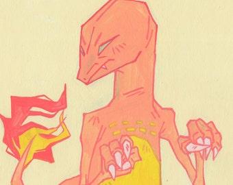 Salamèche - impression d'art 9 x 12 po / / pokemon original aller art mural coloré affiche