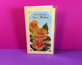Birthday Card - Mother - Vintage Birthday Card - Happy Birthday Dear Mother - Happy Birthday Mum - Florals - Yellow Roses - Greeting Card
