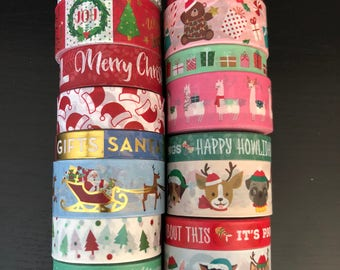 "18""/24"" SAMPLES of Recollections Christmas assorted washi tape (M252)"