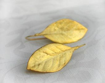 Gardenia leaf gold plated brass Earrings