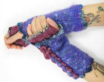 knit fingerless gloves knitted arm warmers knitted fingerless mittens mohair and cotton blue purple wearable Art Unique PiaBarileAccessories