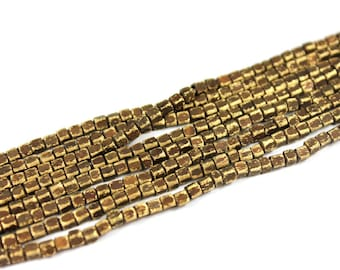 300 pcs - 2.3mm x 2.3mm Brass Oxide Cube Beads - Brass Cube Beads - 26inch Full strand - Cube Beads [ S ]