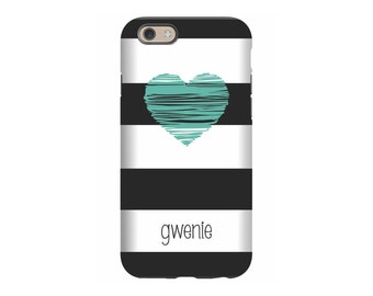 iPhone case ,Aqua Heart, Personalized iPhone 8, iPhone 7, iPhone 6 Tin Tree Gifts Monogram Gift for Women