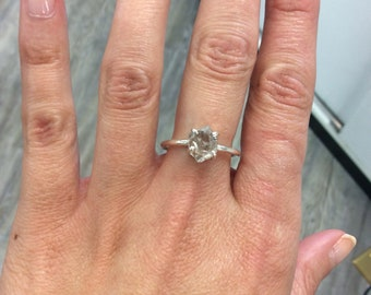 Beautiful Herkimer Diamond Solitaire Sterling Ring