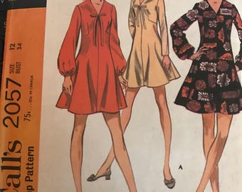 Vintage 60s McCall's 2057 Dress Pattern-Size 12 (34-25 1/2-36)