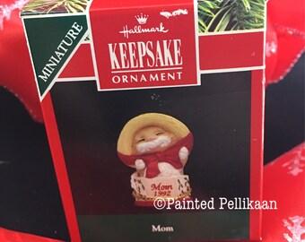 Vintage Hallmark Miniature Ornament, Keepsake Ornament, Mom 1992, Kitty Cat Ornament